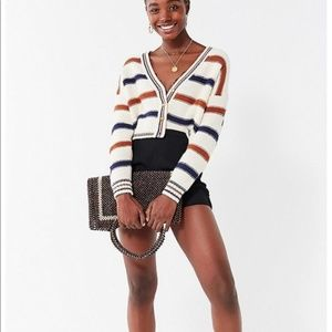 UO Aiden Striped Button Down Cropped Cardigan